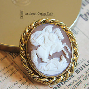 Victorian Gold Plated George & The Dragon Shell Cameo Brooch