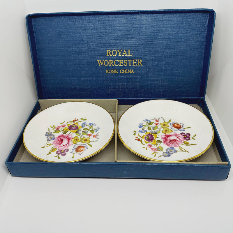 Boxed Pair of Royal Worcester Rose Pattern Pin Dishes