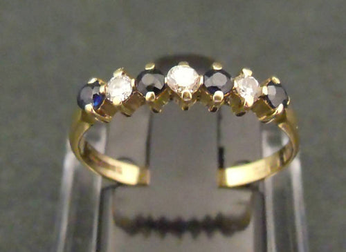 9ct gold, sapphire and diamond half eternity ring