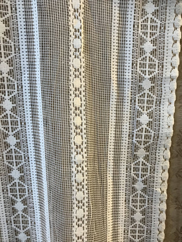 Lille stripe - C1930s Arts & Crafts Cream Cotton Lace Curtain Panelling off roll 56