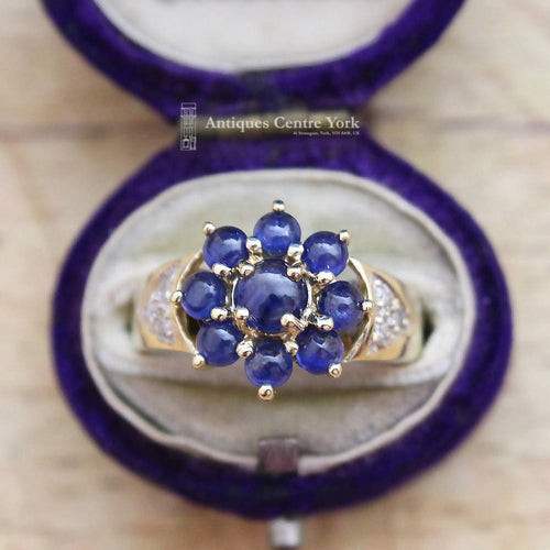 9ct Cabouchon Sapphire & Diamond Cluster Ring