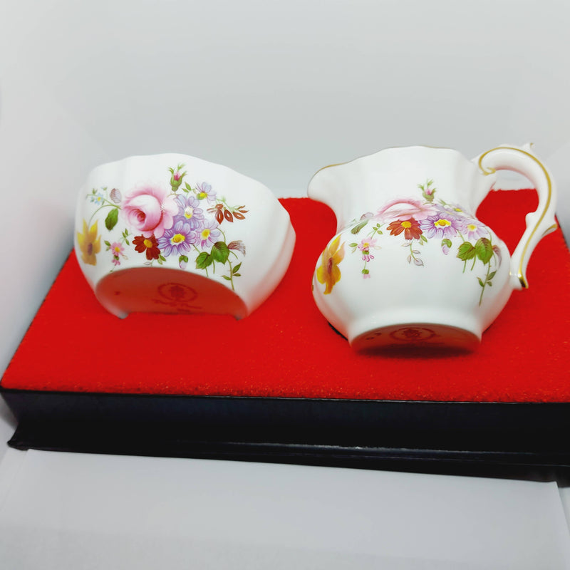 Boxed Royal Crown Derby 'Derby Posies' Milk Jug & Sugar Bowl
