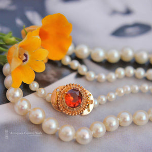 Cultured Pearl Necklace with Antique 15ct Garnet Clasp