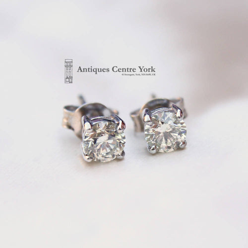 Pair of 18ct White Gold Diamond Single Stone Earrings 1.00ct