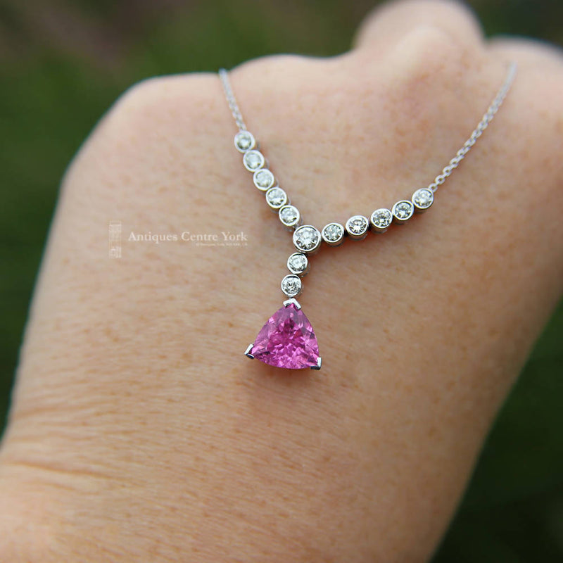 Handmade 18ct White Gold Pink Tourmaline & Diamond Necklace