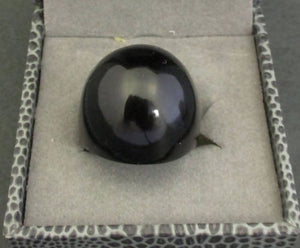 Lalique black crystal cabochon ring, size L