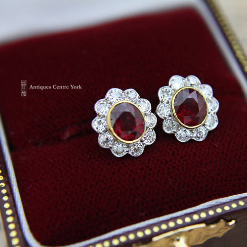 18ct Ruby & Diamond Oval Cluster Earrings