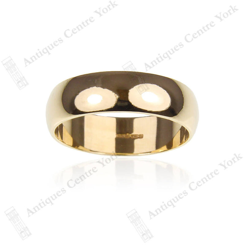 9ct Gold 6mm 'D' Shape Wedding Band