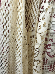 "Roseann Arts & Crafts pure cotton ecru lace panel new old stock 100""/36"""