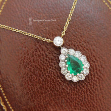 18ct Emerald & Diamond Cluster Necklace