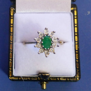 9ct Gold Emerald and Diamond Ring Size N + 1/2