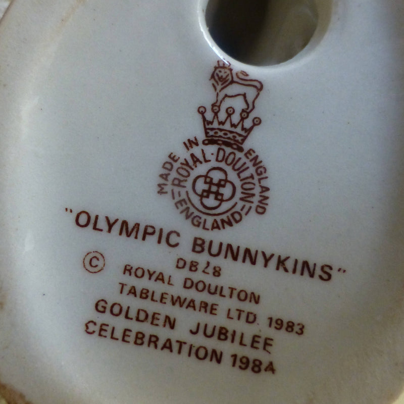 Royal Doulton Bunnykins Figurine Olympic Bunnykins DB28 (Golden Jubilee Backstamp)