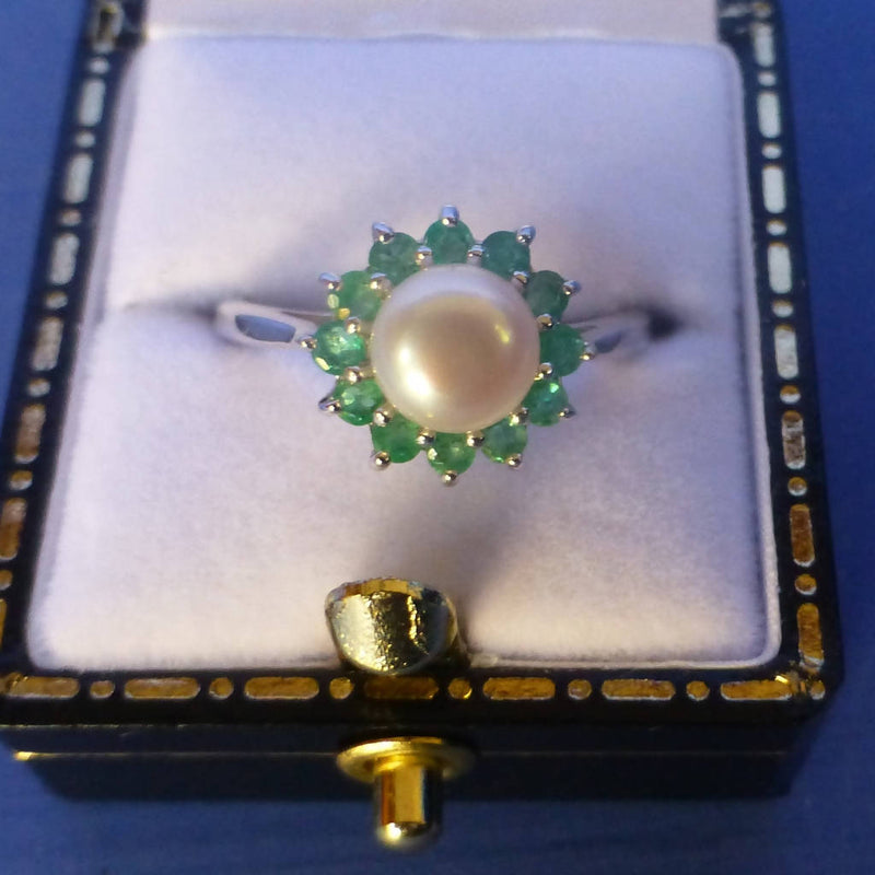Silver Pearl and Emerald Ring - Size L + 1/2