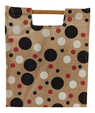 Brute Jute Eco-friendly Bamboo Handle Polka Dot Grocery Tote Bag