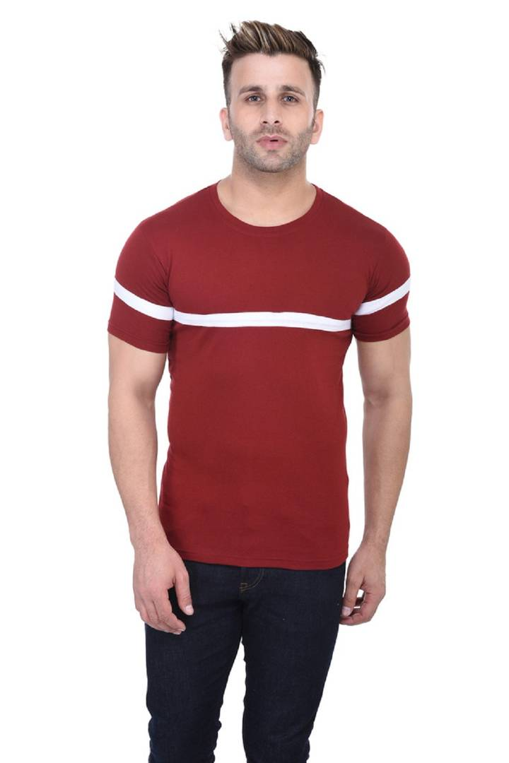 Maroon Cotton Solid Round Neck Tees