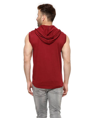 Maroon Cotton Solid Hooded Tees