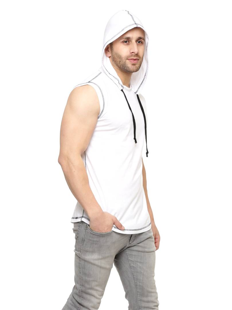 White Cotton Solid Hooded Tees