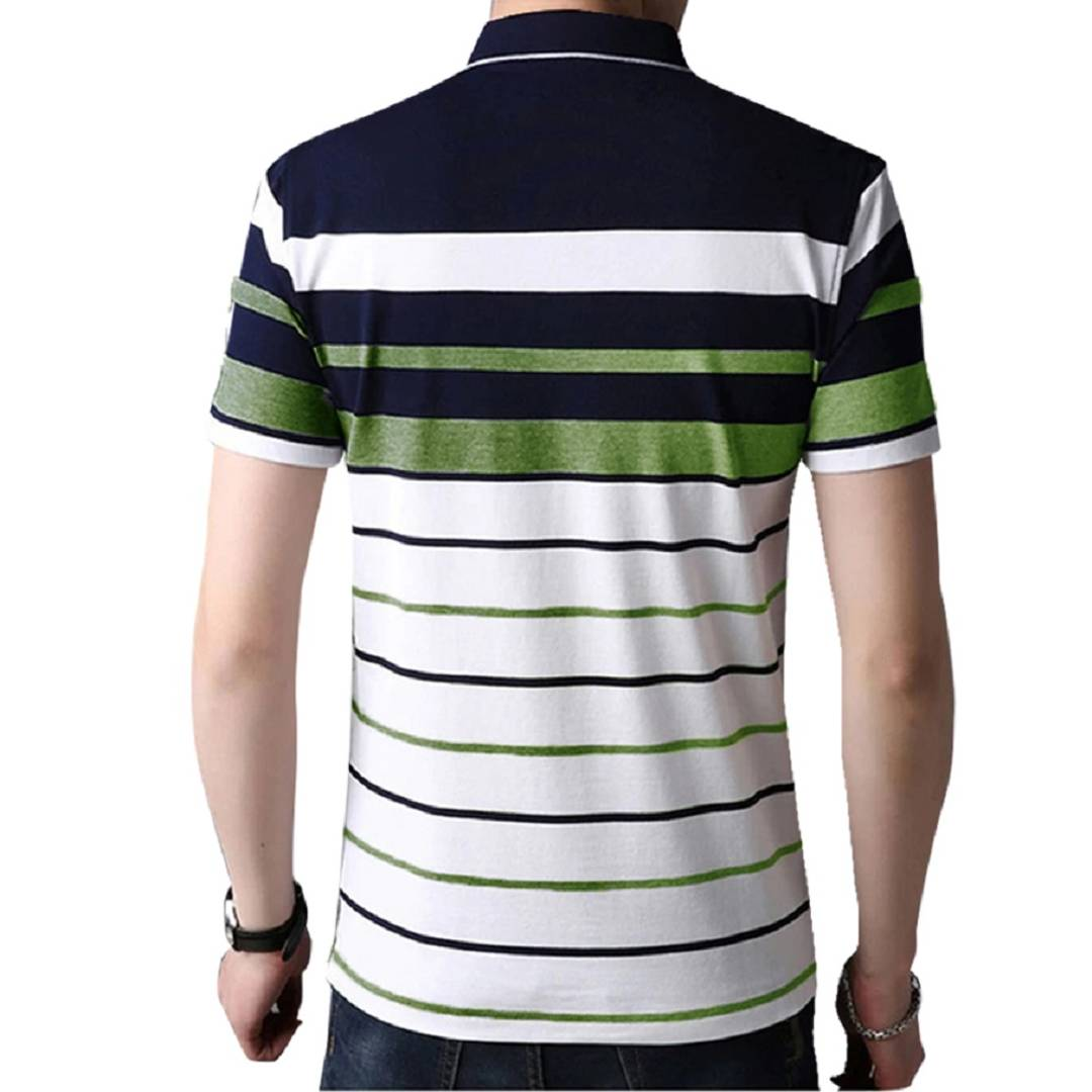Seven Rocks Men's Multicoloured Striped Cotton Polos