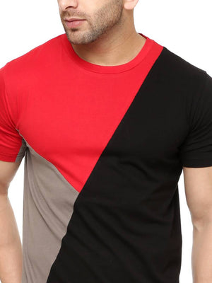 Men's Multicoloured Colourblocked Cotton Round Neck Tees