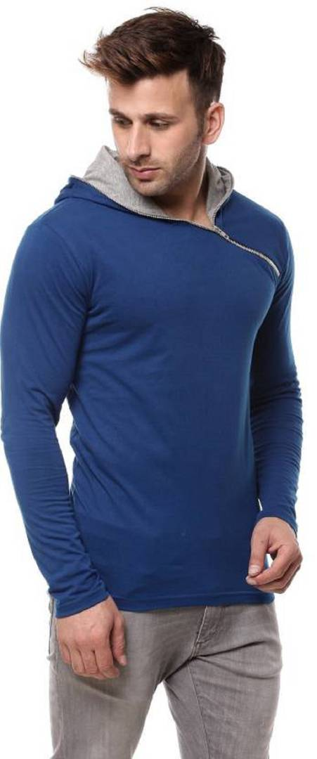 Men's Blue Solid Cotton Hooded Tees