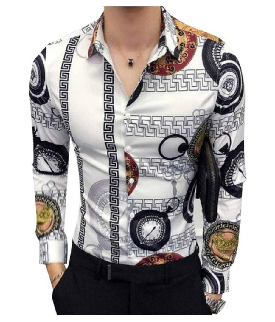 Multicoloured Printed Silk Regular Fit Casual Shirt