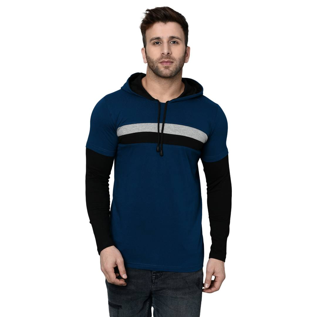 Men's Blue Cotton Blend Self Pattern Hooded Tees