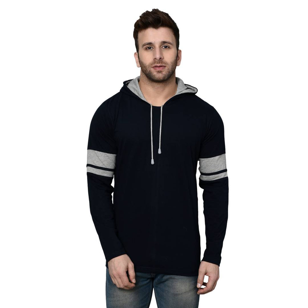 Men's Navy Blue Cotton Blend Self Pattern Hooded Tees