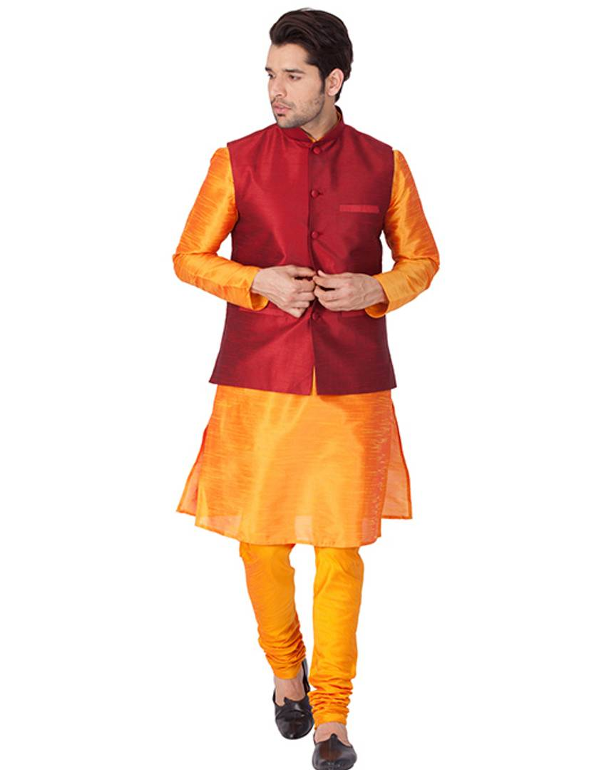Men's Orange Cotton Silk Kurta, Modi Jacket and Pyjama Set