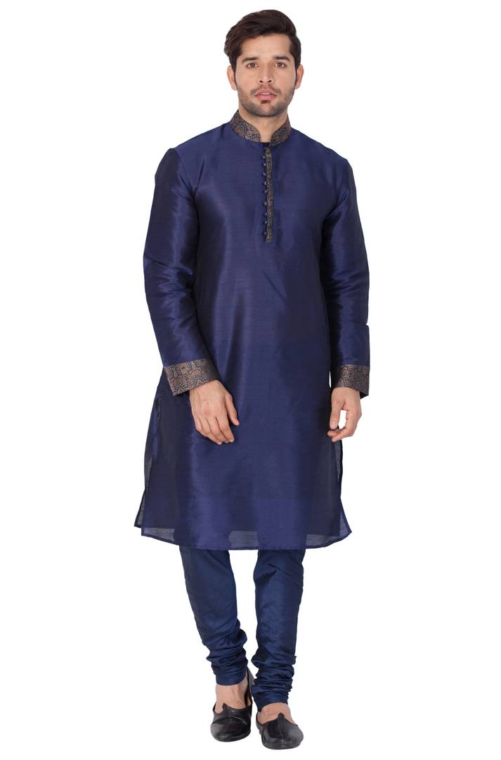 Men's Navy Blue Cotton Silk Kurta and Pyjama Set