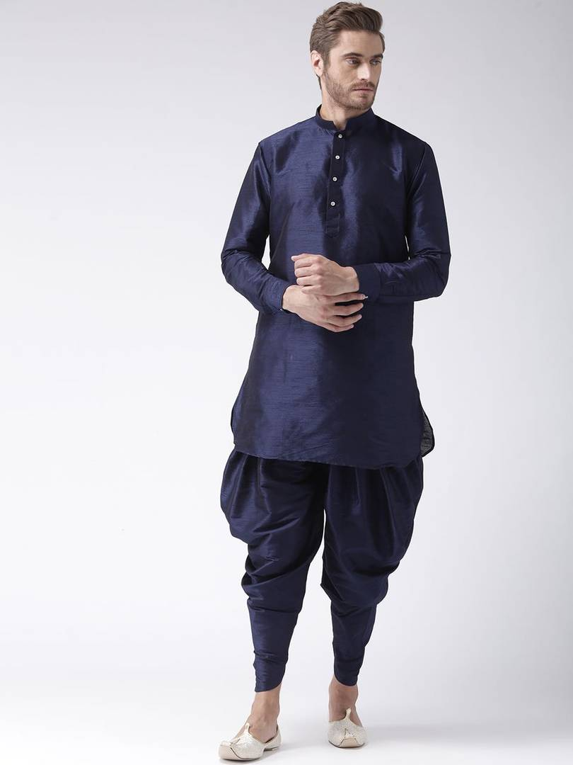 Men's Navy Blue Solid Polycotton Kurta & Bottom Sets