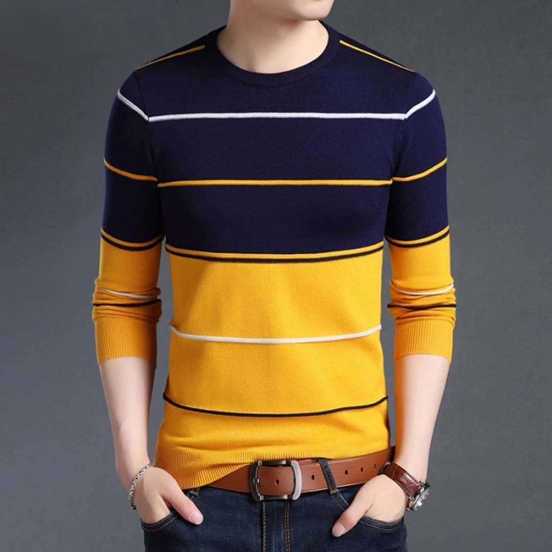 Seven Rocks Men's Yellow Striped Cotton Round Neck Tees