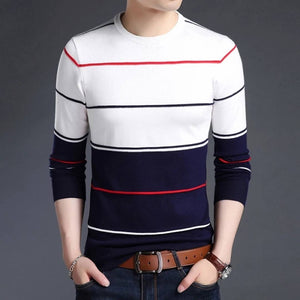 Seven Rocks Men's White Striped Cotton Round Neck Tees