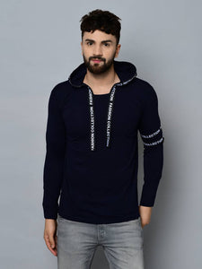 Men's Navy Blue Cotton Self Pattern Hooded Tees