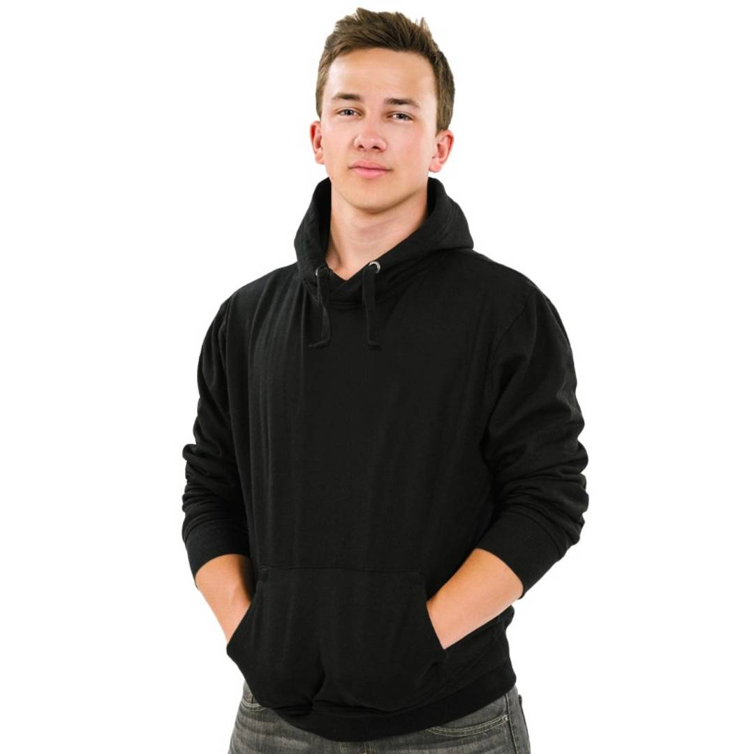 Men's Black Cotton Solid  Long Sleeves Hooded Pullover