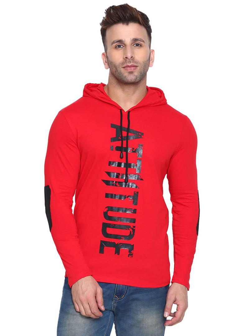 Men's Red Cotton Printed Hooded Tees