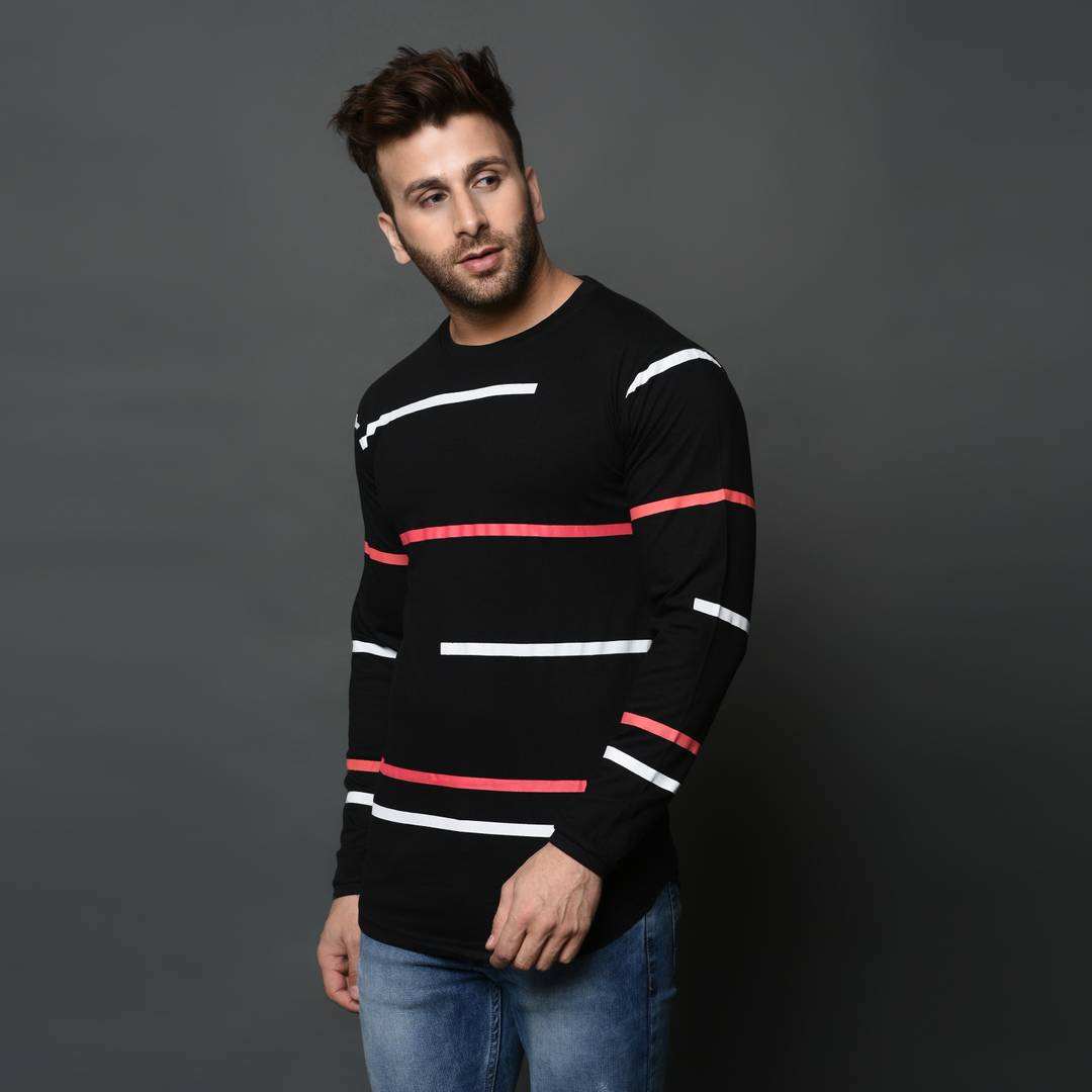 Men's Black Cotton Printed Round Neck Tees