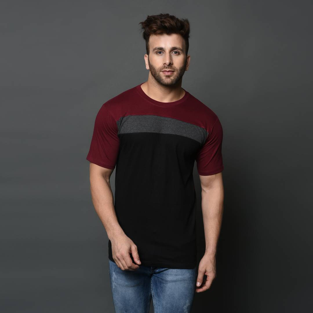 Men's Multicolored Colourblocked Cotton Slim Fit