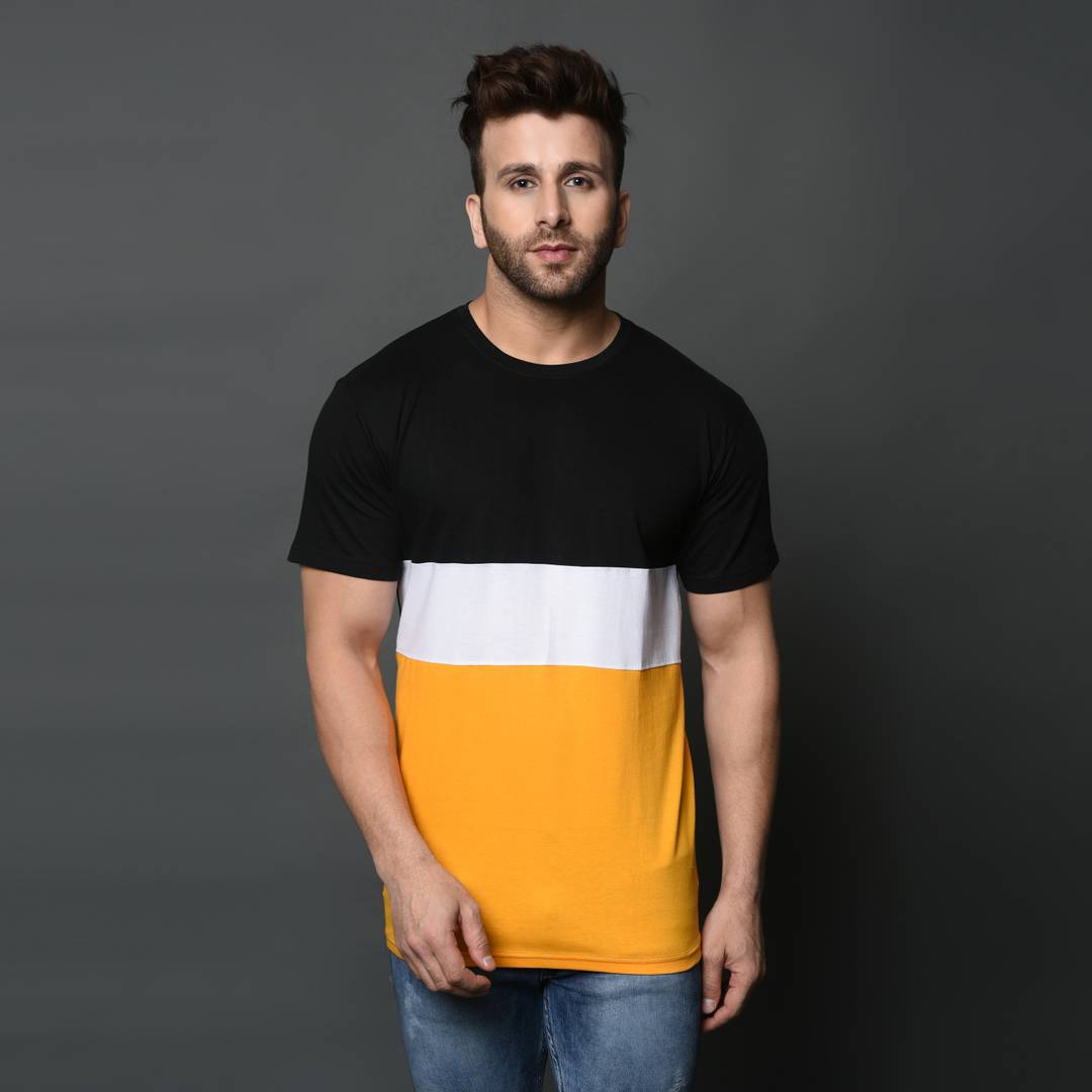 Men's Yellow Colourblocked Cotton Slim Fit
