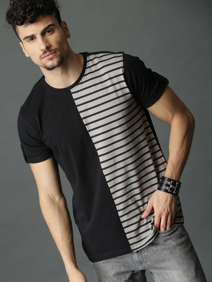Men's Multicoloured Striped Cotton Round Neck Tees
