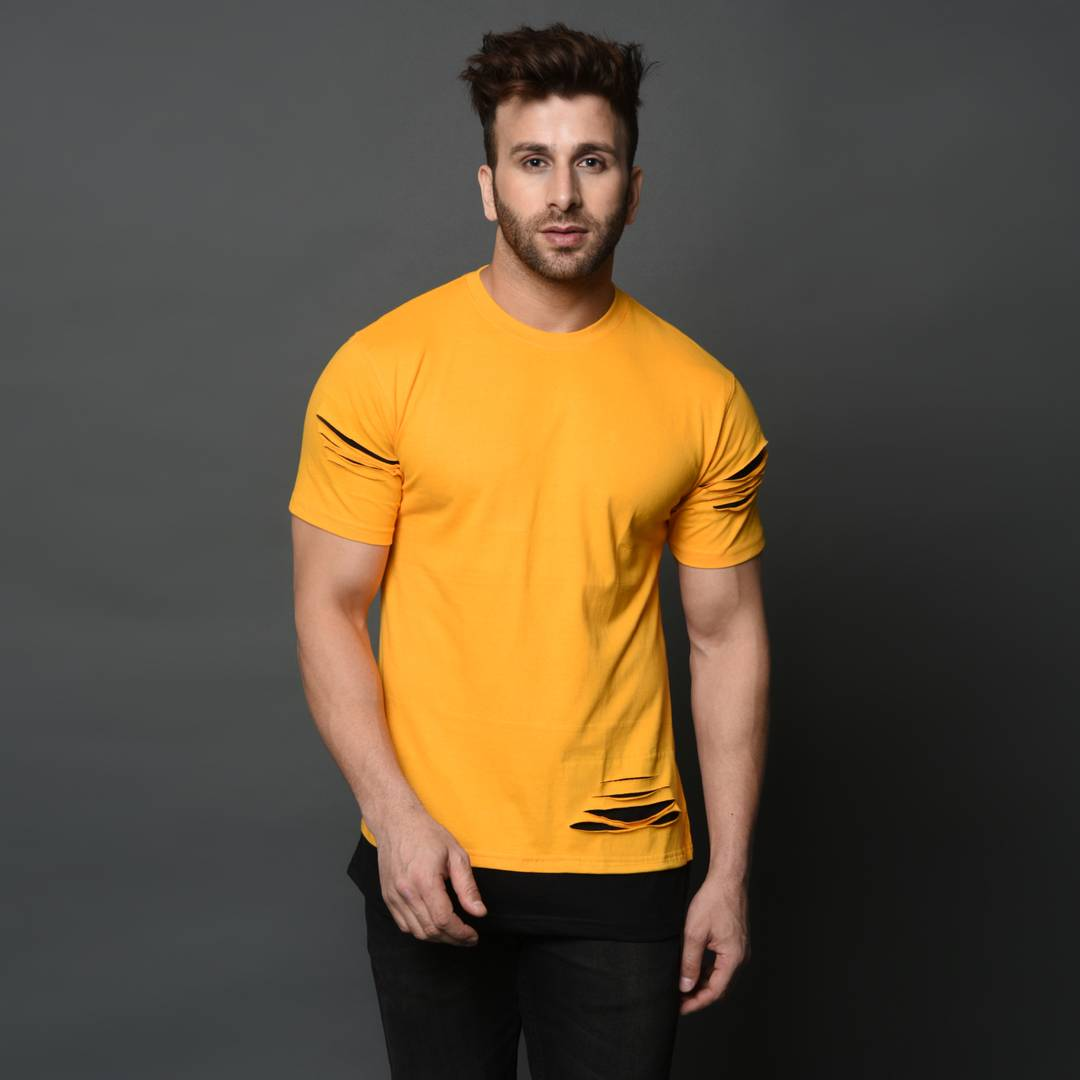 Men's Yellow Cotton Solid Round Neck Tees