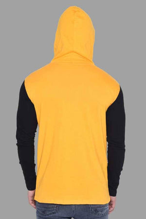 Men's Yellow Cotton Blend Self Pattern Hooded Tees