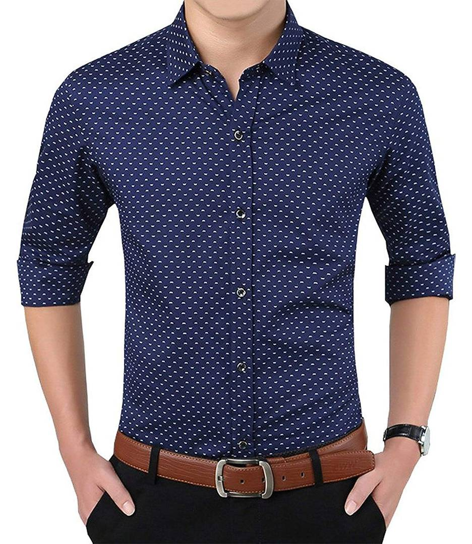 Men's Navy Blue Cotton Printed Regular Fit Casual shirts