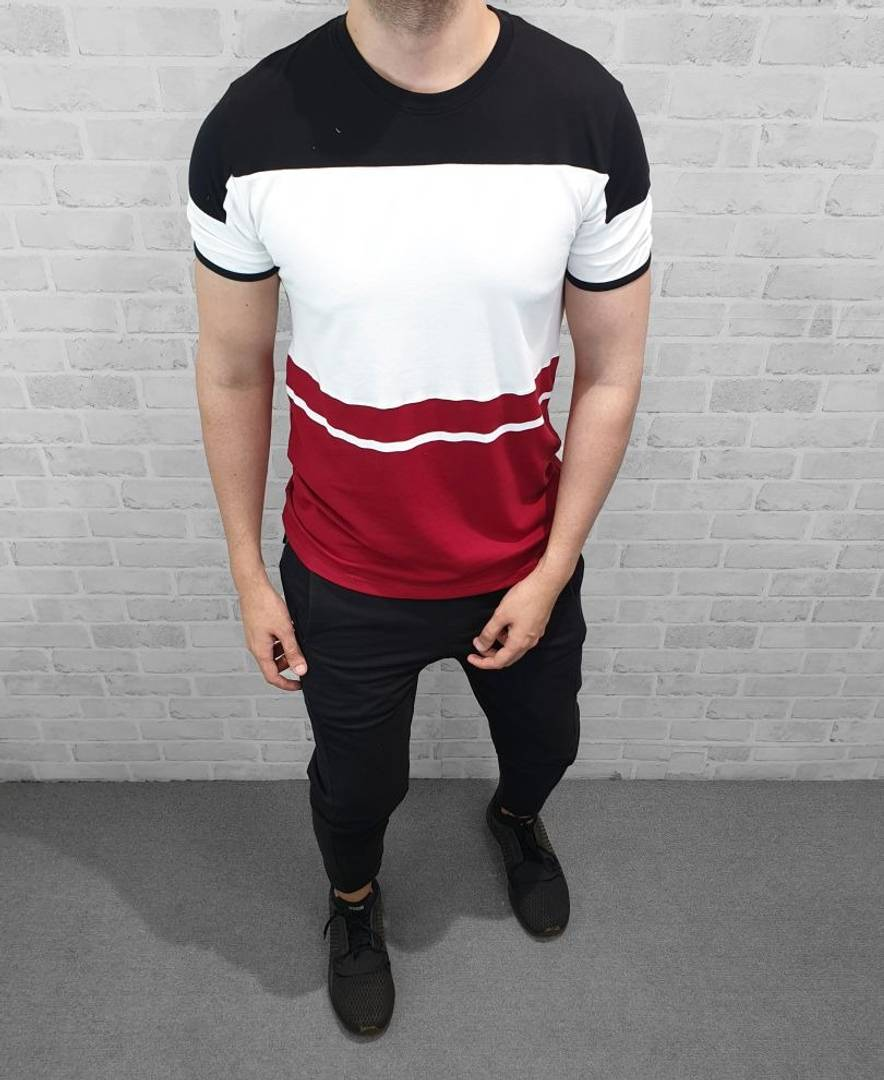 Men's Multicoloured Cotton Colourblocked Round Neck T-Shirt