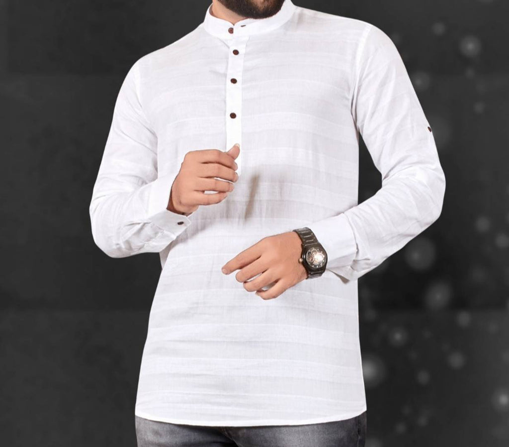 Men's White Cotton Striped Short Length Kurta