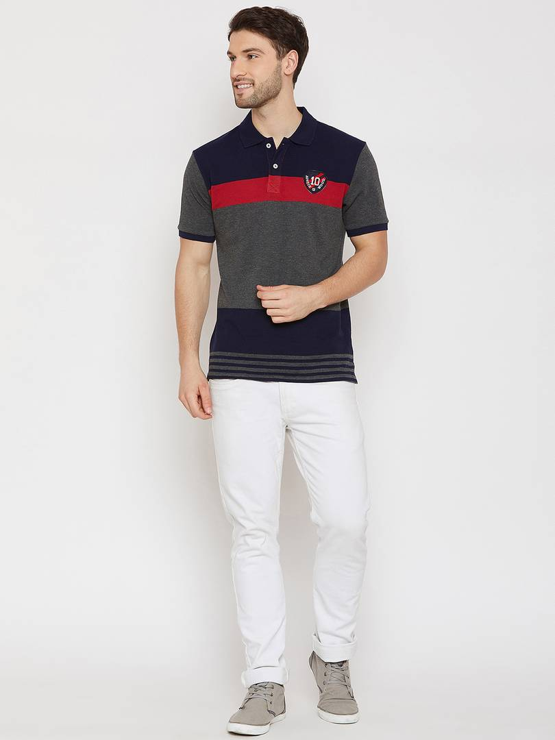 Men's Red Short Sleeves Solid Polo Collar Tshirts