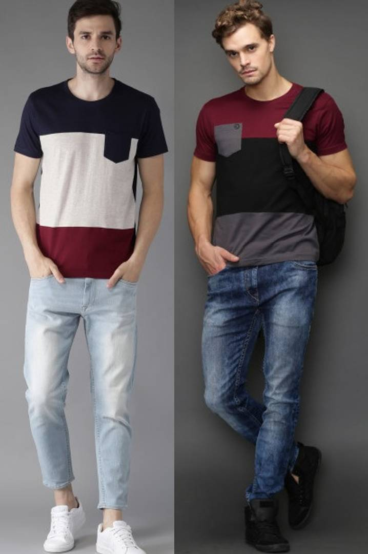 Men's Multicoloured Cotton Colourblocked Round Neck Tees (Pack of 2)