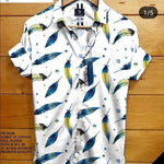 Stylish White Satin Cotton Printed Shirt For Men