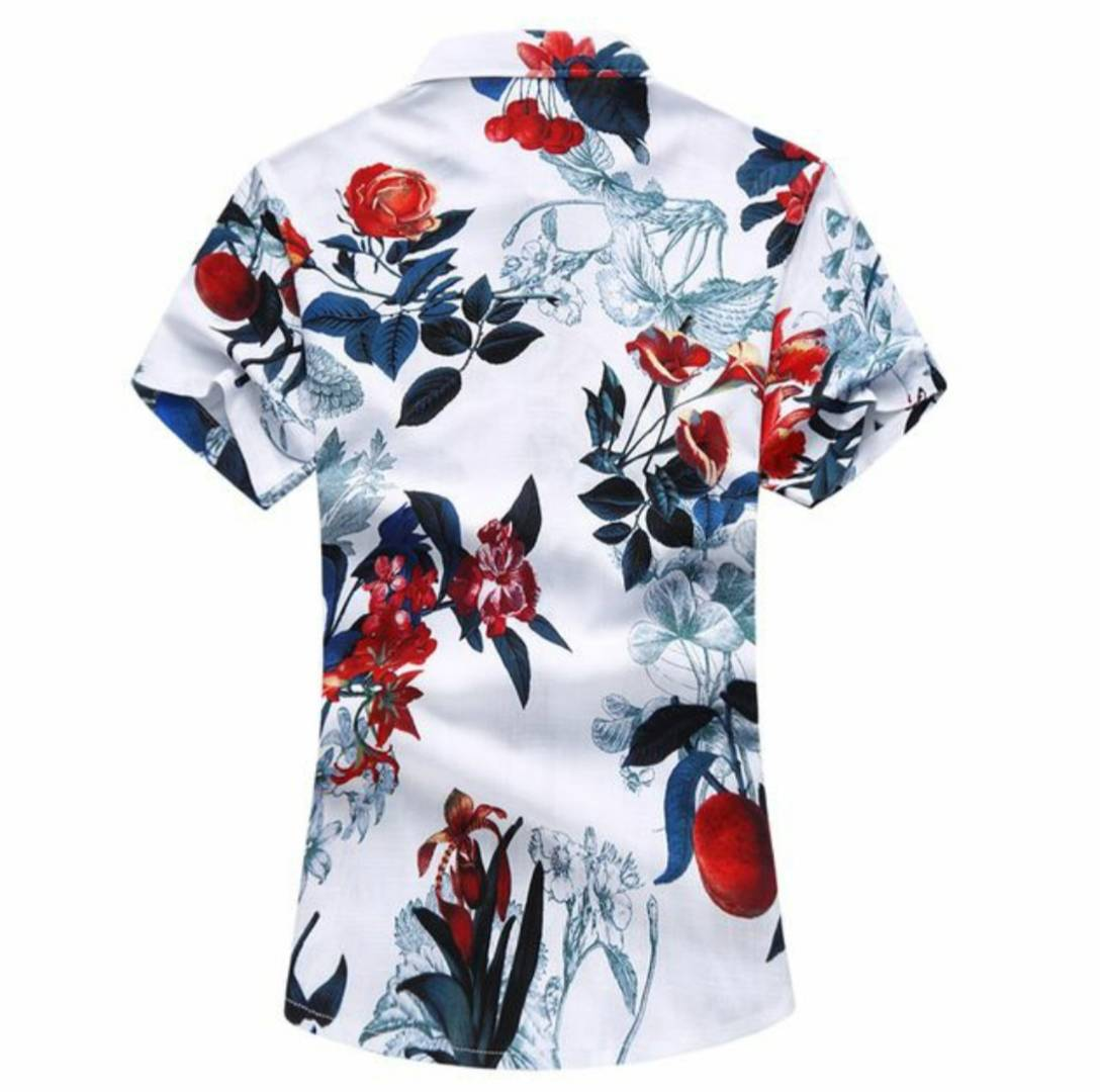 Men's Multicoloured Cotton Printed Short Sleeves Slim Fit Casual Shirt