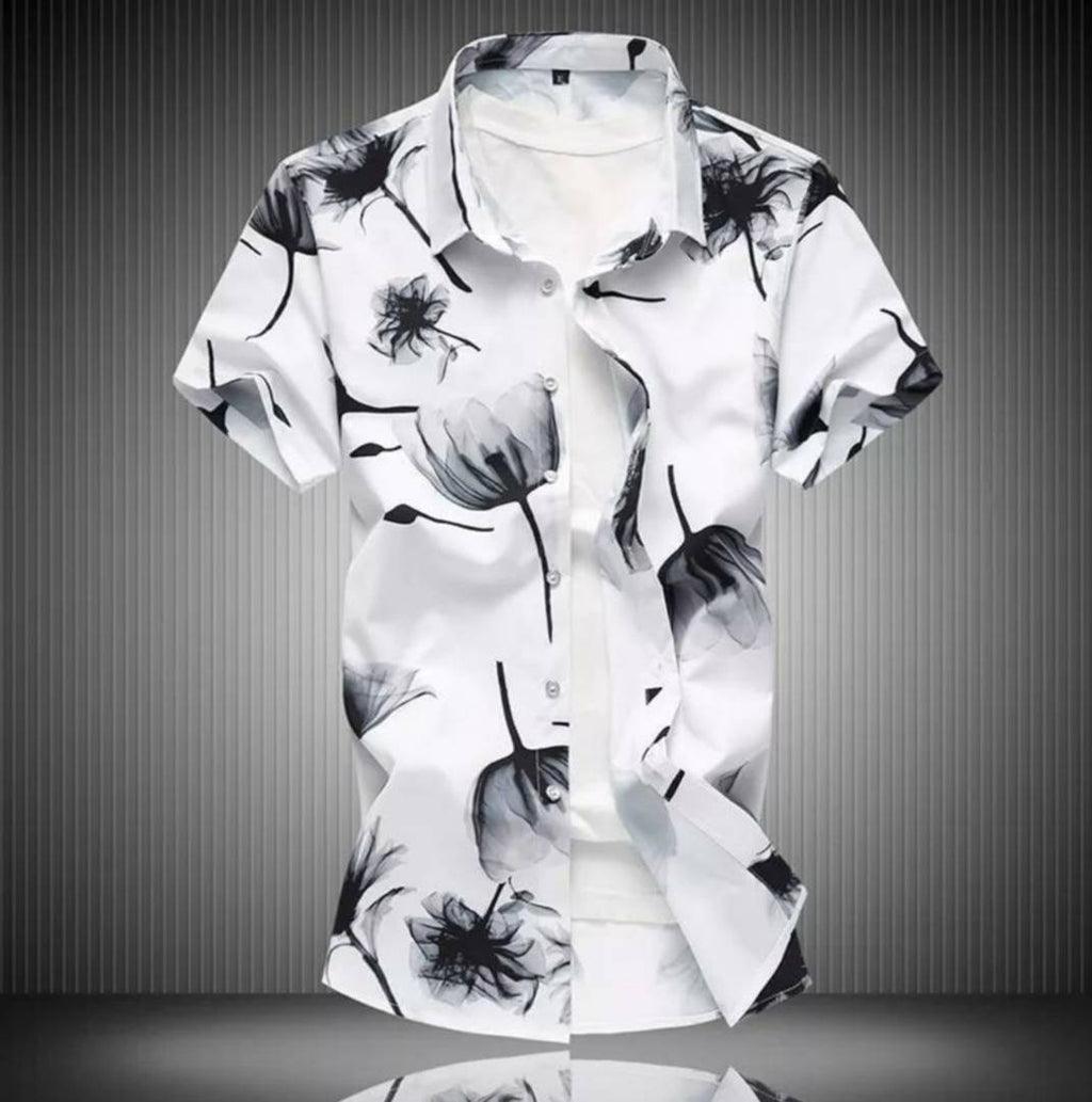 Men's White Cotton Printed Short Sleeves Slim Fit Casual Shirt