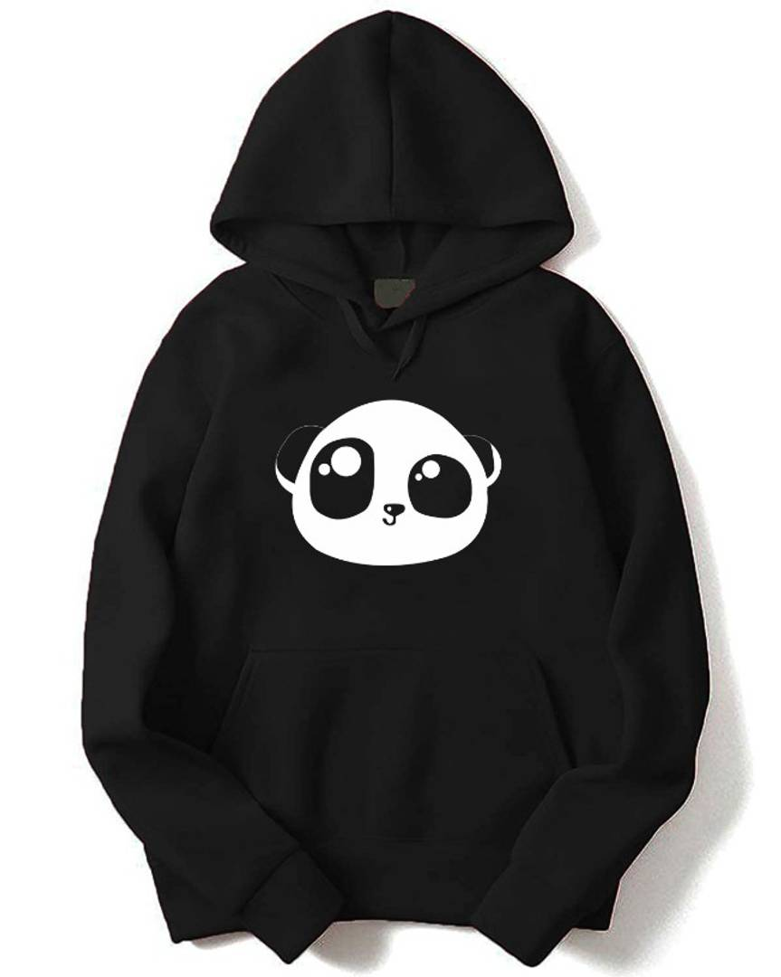Modern Black Cotton Fleece Printed Hooded Sweatshirt For Men